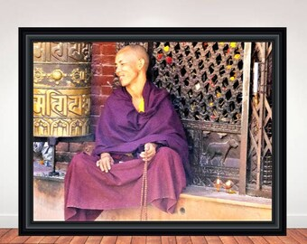 "Buddhist, Monk, Nepal, Zen, Wall Art, Poster, Art Work, Home Decor, Peace, Photography, Portrait, Calm, Relax, Print, ""Monk at Temple"""