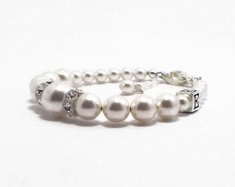 Baby Monogram Bracelet, Initial Bracelet, Baby Bracelet, Baby Jewelry, Baptism Bracelet, Flower Girl Bracelet Gift, Monogram Jewelry (B148)