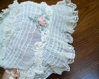 Antique baby bonnet - tulle, lace and tatting