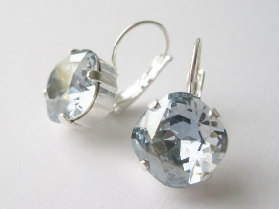 Blue Grey Crystal Rhinestone Drop Earrings Bridesmaid Jewelry Vintage Hollywood Style Wedding Jewellery Swarovski Elements Blue Shade