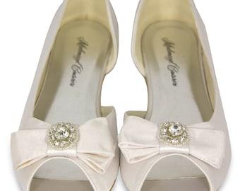 Bridal Satin Shoes - Miesha Embellished Satin Bridal Peep Toe Flats