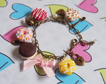 Doughnut Bracelet Doughnut Charms ( polymer clay donut food jewelry gift for her miniature food bracelet mini food jewelry )