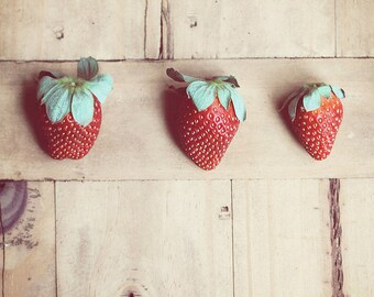 Food Photography Kitchen Art food: Strawberries three Fine Art Photography Art for Kitchen Fruit Still life Photography Fruit Rustic red art