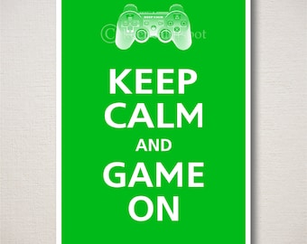 Keep Calm and GAME ON Gaming Typography Art Print