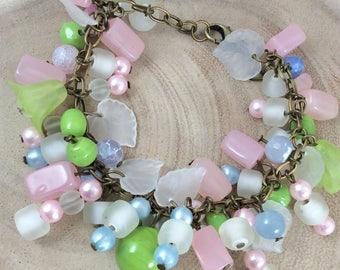 Ladies bracelet, Charm bracelet, Bracelet, Spring, Summer, Gift for her, Lucite flowers, Glass beads, Vintage bracelet, Wiccan, Handmade