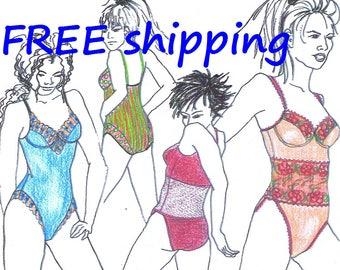 LINGERIE pattern B1 for Bodysuit or Swimsuit FREE Shipping by Merckwaerdigh