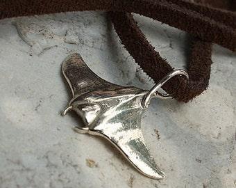 Manta Ray Necklace-Manta Ray Pendant-Diving Charms-Silver Manta Ray