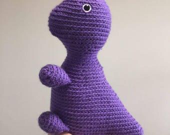 Crocheted Dionasaur, Purple Dinosaur, Crocheted, Crochet dinosaur, stuffed, plushie, nursery, soft, cuddly