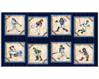 "Grand Slam from Quilting Treasures - 23"" x 44"" Panel Baseball Players"