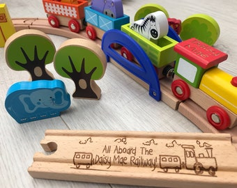Zoo wooden train set choo choo set - personalised wooden train track and train