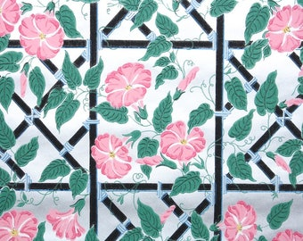 1940s Vintage Wallpaper by the Yard - Floral Wallpaper with Pink Morning Glories on Metallic Silver Background with Black and Blue Lattice