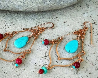 Natural Pure Copper Chandelier Earrings with Turquoise and Coral