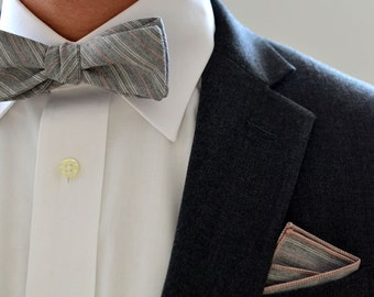 Bow Tie and Pocket Square Set in Gray and Pink Pinstripe- freestyle grey wedding groomsmen bowtie matching set self tie cotton white stripes
