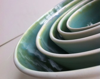 Wheel Thrown White And Green Porcelain Nesting Bowls - Made To Order