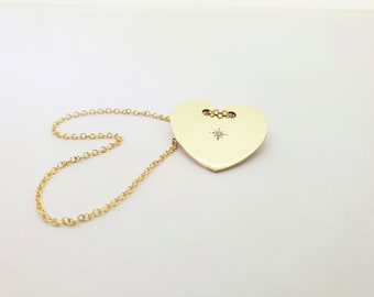 Diamond heart, heart necklace, gold heart, necklace gold, necklace heart,
