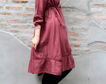 Knee length dress (1423) in cotton mixed with silk (one size)