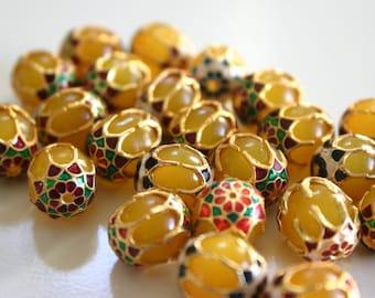 SALE Yellow Beads - Meenakari beads (2) 12mmx13mm