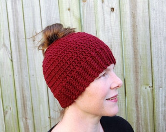 Ponytail Hat - Messy Bun Hat - Women's Ponytail Hat - Messy Bun Beanie - Runner's Hat - Gift for Her - Crochet Ponytail Hat