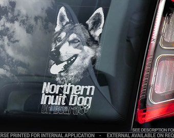 Northern Inuit Dog on Board - Car Window Sticker - Sign Decal - V02