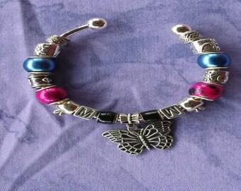 Mood stone bead, Butterfly charm, Euro style bracelet