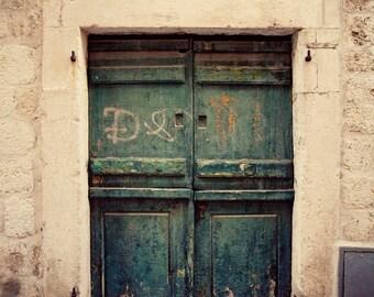 dubrovnik croatia door photography, blue decor, beige decor, europe art, architecture, building photography, Graffitti Door D09