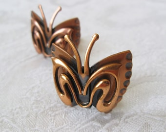 Mint Renoir Copper Butterfly Earrings Vintage Copper Jewelry from the 1950s and 1960s