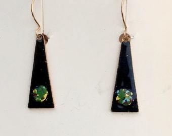 Minimalist Earrings, Vintage Enameled Earrings, Enamel Earrings, Vintage Earrings, Sarah Coventry, Cloisonné, 1/20 12 KT. G.F. Wires #E11