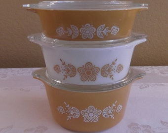 Pyrex Butterfly Gold I 3 piece Bake-Serve-Store Casserole Set with lids; #471, #472, and #473