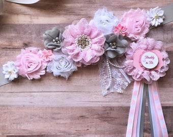 Flower Sash, Bridal Sash, Flower Girl Sash,Pregnancy, Maternity Pink and Gray Sash, Baby Shower, Gender Reveal Party Photo Prop Baby Gift
