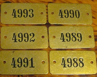 6 Vintage Brass Locker Tags You Get All 6 Tags #2
