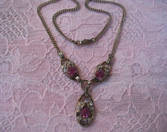 Vintage Pink and White Rhinestone Necklace