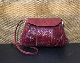 Vintage 1990's Dark Red Wine Burgundy Snake Skin And Leather Shoulder Strap Bag