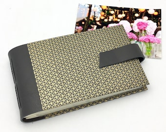 Elegant Mini Photo Album - Black and Gold Geometric - Personalize It