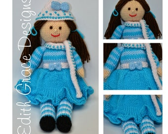Winter Doll Knitting Pattern - Rag Doll Pattern - PDF Knitting Pattern
