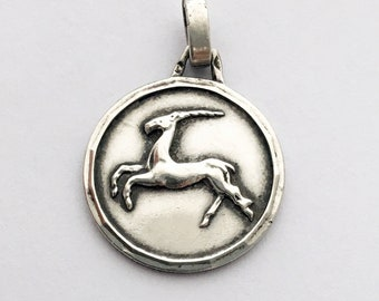 Vintage French Capricorn Pendant The Goat of Fear Zodiac Sign Vintage Necklace Pendant Horoscope Charm Astrology