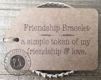 One of A Kind - Earth Friendly Handmade Gift - Friendship Bracelet w/ Gift Tag. More Bead Colors - Kids to Adult Sizes.