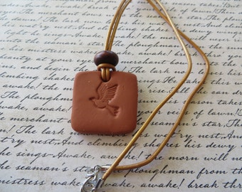 Essential Oil Diffusing Aromatherapy Necklace with Leather Cord and Dove Terra Cotta Pendant