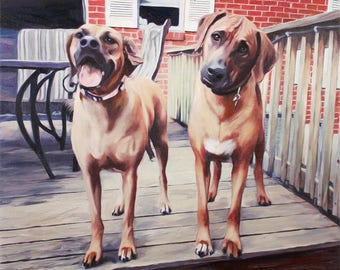 Custom Dog Portrait Painting - Personalized Dog Art from Photo 16x20