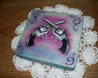 Wood Box with Crossed Revolvers Wood Burned and Hand Painted Blue And Purple
