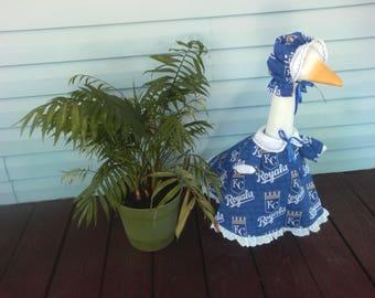 Goose Clothing - Kansas City Royals Lawn Goose Dress for Plastic and Concrete Lawn Goose
