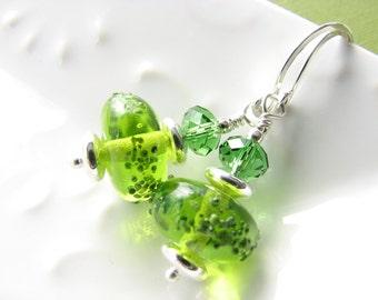 Lime green dangle earrings bright green spring green glass silver earrings