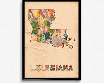 Louisiana Map Poster Watercolor Print - Fine Art Digital Painting, Multiple Sizes - 12x18 to 24x36 - Vintage Paper Colors Style