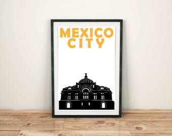 Mexico City Print // Mexican Art // Mexico City Poster // Mexico City Art // Mexican Gift // Mexican Poster // Wedding Gift // Gift for him