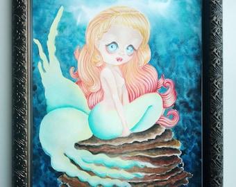 Deep in the sea. Original Painting Framed Pop surrealist Lowbrow Painting Big eyes Mermaid