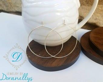 Hoop earrings,  silver earrings, gold,  medium size hoops, lightweight,  round hoops,  classic hoops, modern,