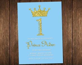Prince Birthday Invitation, Boy Birthday Invitation, Little Prince Invitation, Blue & Gold Birthday, Gold Glitter Invitation