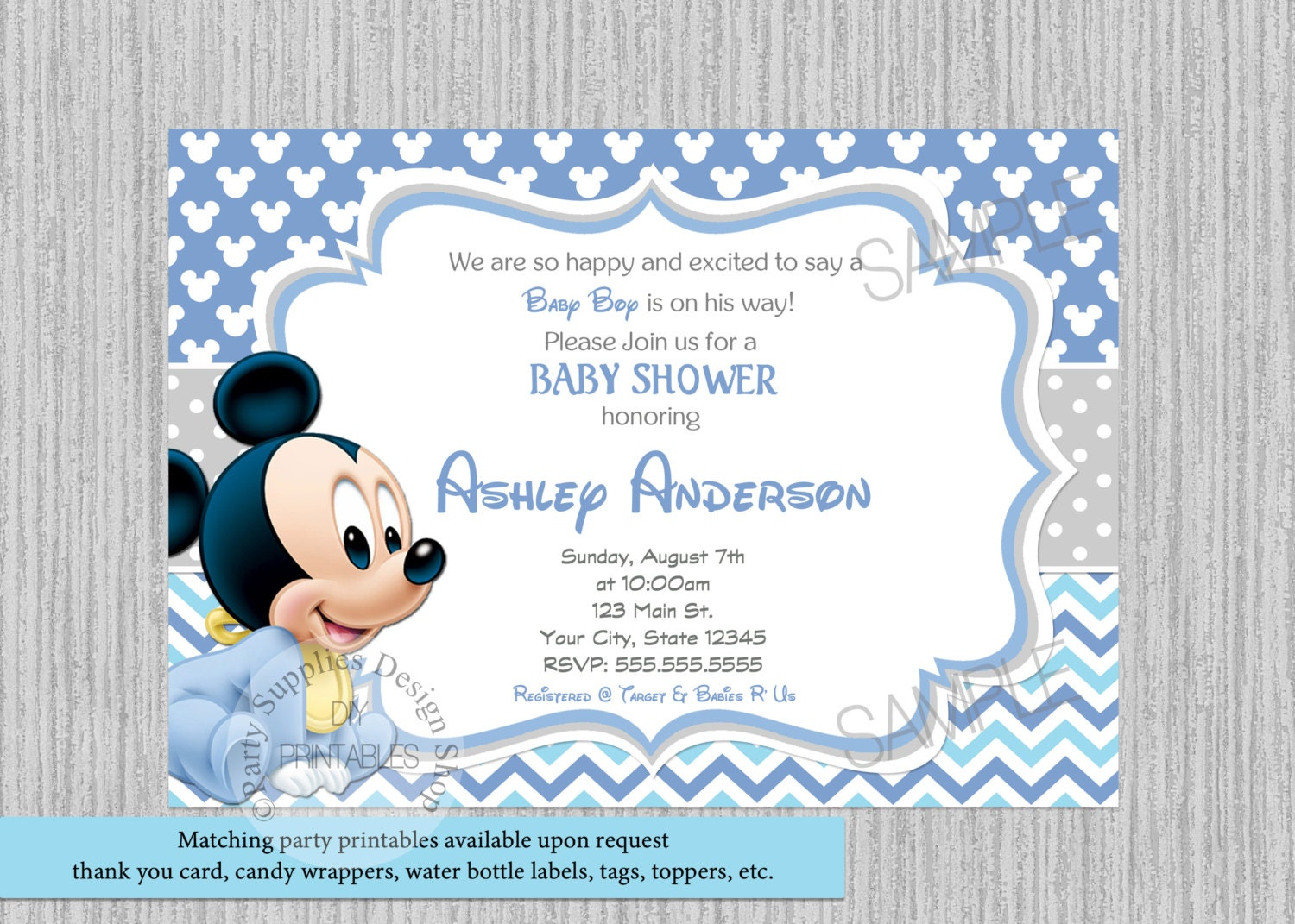 PRINTED or Digital Cute Baby Mickey Mouse Baby Shower
