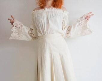 Waist Beige Pleated Mid Calp Skirt | Vintage Boho Wedding