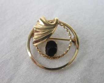 Antique Gold Filled & Black Onyx Circle Brooch