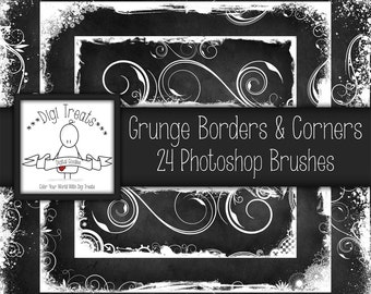 20% OFF Grunge Border & Corner Photoshop Brush Set (24 brushes) High Quality 300dpi ~ Instant Download.